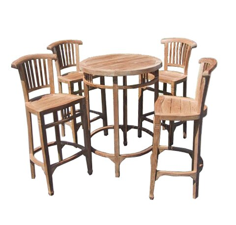 Elias 5 Piece Teak Bar Height Dining Set by Rosecliff Heights