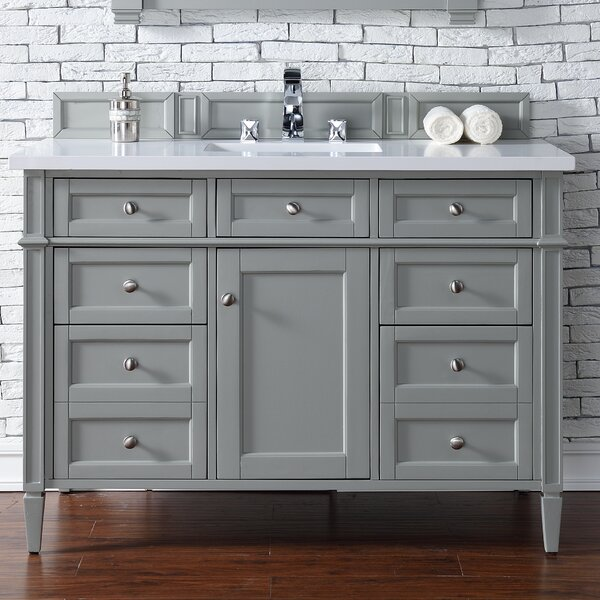 Deleon 48 Single Urban Gray Quartz Top Bathroom Vanity Set by Darby Home Co