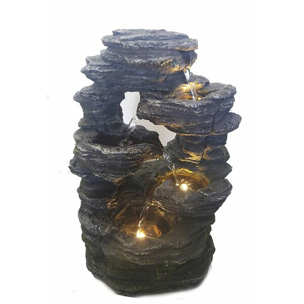 Resin Decoration Feng Shui Rock Like Waterfall Fountain with Light by Major-Q