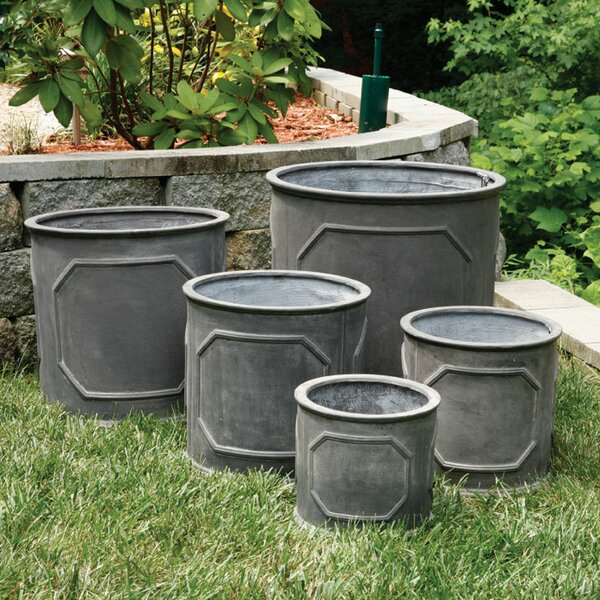 Saint-Pierre 5 Piece Fibreclay Cylinders Planter Box Set by One Allium Way