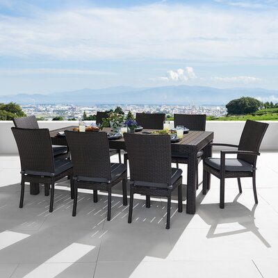 Three Posts Patio Dining Set In Espresso Cushion Color Dining Sets