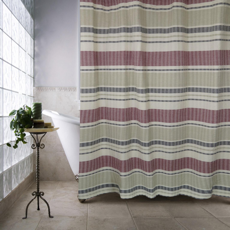 Metro Farmhouse Cotton Seersucker Bands Shower Curtain & Reviews ...