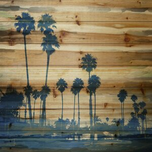 'Blue Palms' by Parvez Taj Painting Print on Natural Pine Wood by Parvez Taj