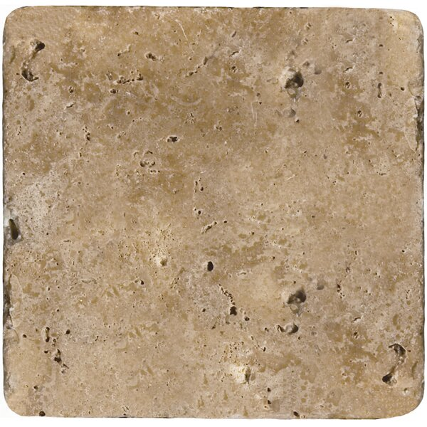 Travertine 6 x 6 Tile in Ancient Tumbled Mocha by Emser Tile