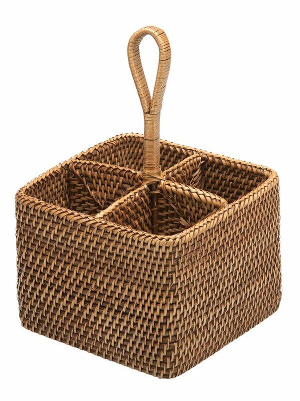 Kouboo Rattan Bottle and Silverware Caddy Basket & Reviews | Wayfair