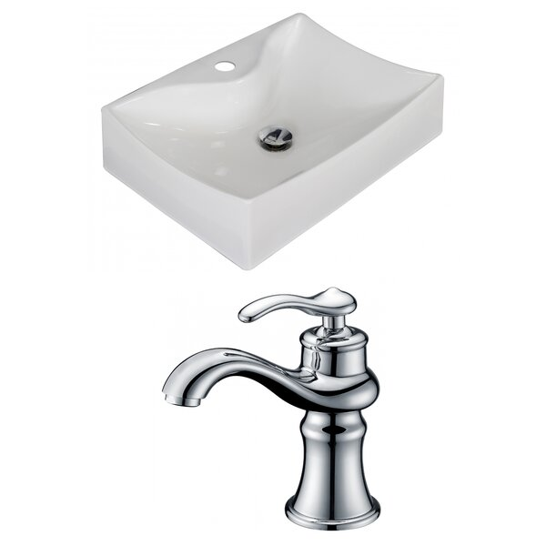 Ceramic 22 Wall Mount Bathroom Sink with Faucet by American Imaginations