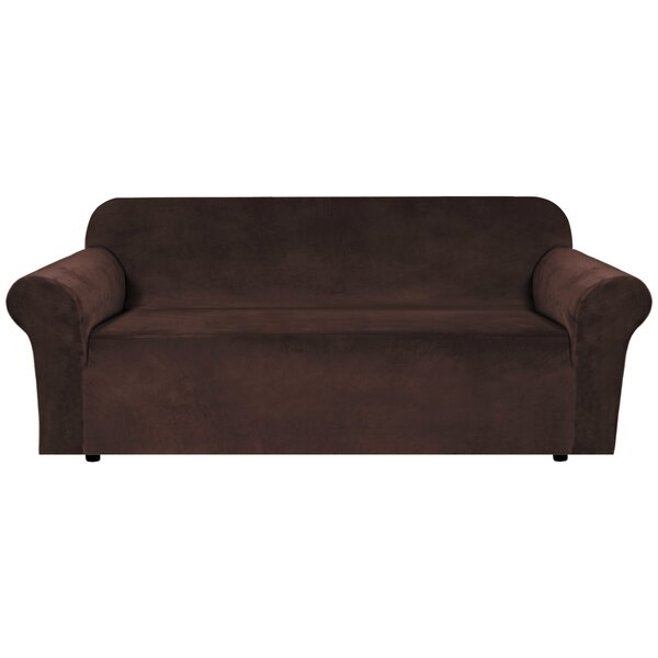 Luxurious Velvet Box Cushion Sofa Slipcover By Canora Grey