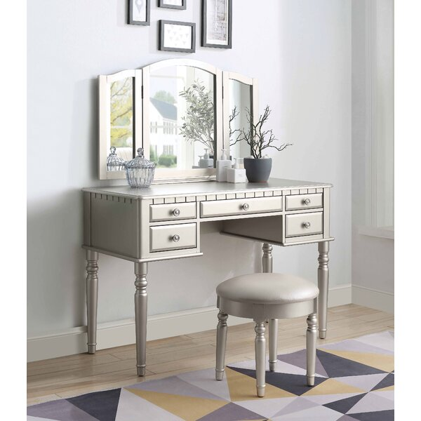 Yuvi Vanity Set with Stool and Mirror by Charlton Home