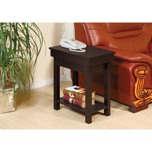 Ayube End Table with Storage Glide Top Open by Winston Porter