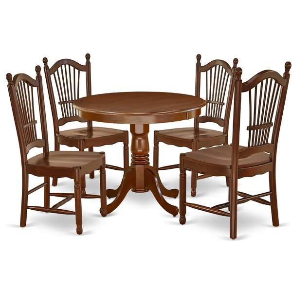 Schock 5 Piece Solid Wood Dining Set by Charlton Home Charlton Home