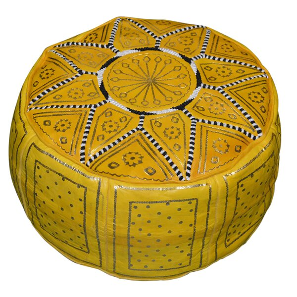 Nokomis 18'' Genuine Leather Round Pouf Ottoman By Bungalow Rose