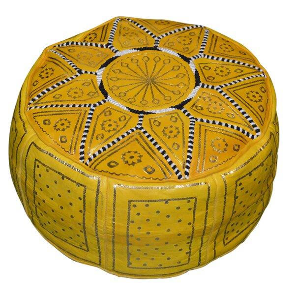 Patio Furniture Nokomis 18'' Genuine Leather Round Pouf Ottoman
