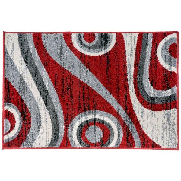 Jewel Circles Red Area Rug by Orren Ellis