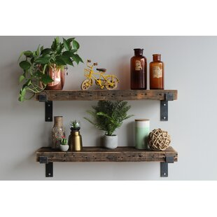 Cicero Chunky Wide Plank Reclaimed Barn Wood Wall Shelf (Set of 2) by Williston Forge