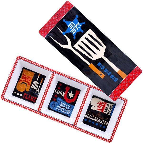 BBQ Bandit 2 Piece Melamine Divided serving dish/Platter Set by Certified International