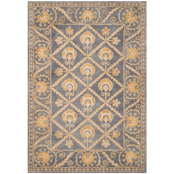 Amundson Hand-Tufted Blue/Gold Area Rug by Charlton Home