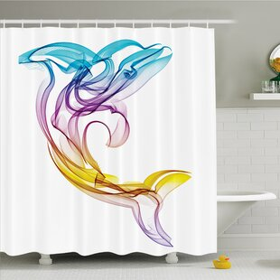 Savings Sea Animals Dolphin Figure with Ornamentals Abstract Art Aquatic Animal Illustration Image Shower Curtain Set By Ambesonne