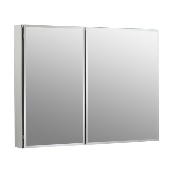 35 x 26 Aluminum Two-Door Medicine Cabinet with Mirrored Doors, Beveled Edges by Kohler