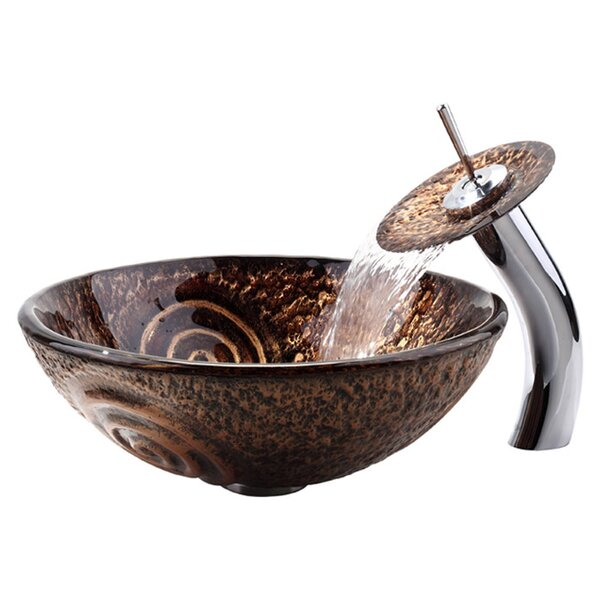 Copper Glass Circular Vessel Bathroom Sink With Faucet And Overflow By Kraus.