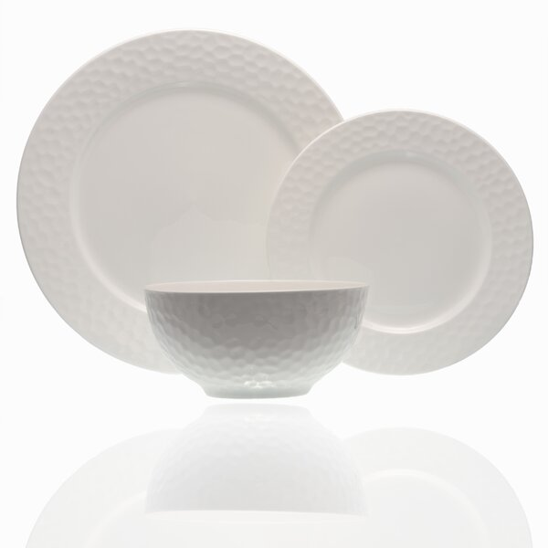 Pebble Beach 18 Piece Bone China Dinnerware Set, Service for 6 by Red Vanilla