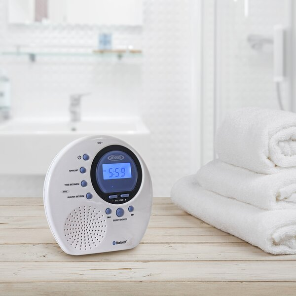 Digital AM/FM Bluetooth Water Resistant Desktop Clock by Jensen