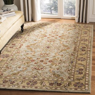 Berezinsky Hand-Tufted Wool Light Green/Gold Area Rug by Astoria Grand