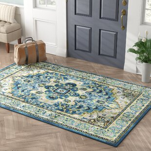 Palmerton Teal Area Rug by Charlton Home