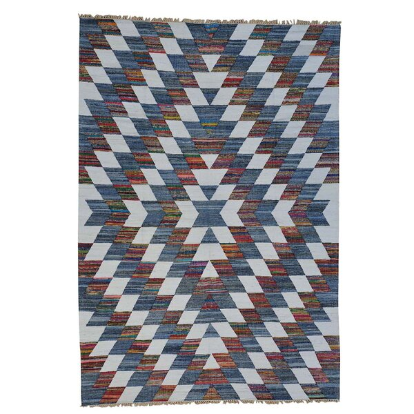 Recycled Clothes Kilim Hand-Knotted Denim Blue/Blue Area Rug by Bloomsbury Market