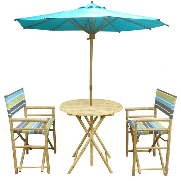 Denning Bamboo 3 Piece Bistro Set with Umbrella by Highland Dunes