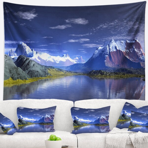 Landscape 3D Rendered Mountains and Lake Tapestry and Wall Hanging by East Urban Home