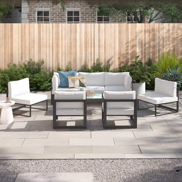 Annemarie Outdoor Patio 6 Piece Sectional Seating Group with Cushions by Foundstone