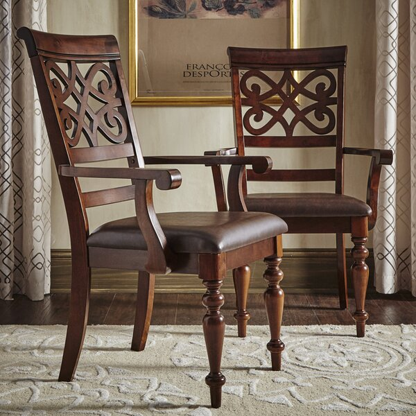 Leopoldo Armed Upholstered Dining Chair (Set of 2) by Fleur De Lis Living