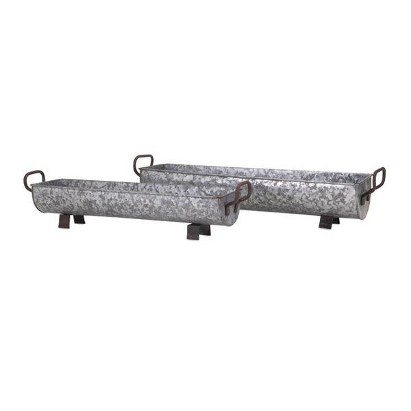 Christina 2-Piece Iron Galvanized Planter Box Set by Woodland Imports