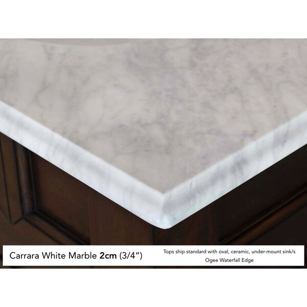 Deleon 60 Double Cottage White Marble Top Bathroom Vanity Set by Darby Home Co