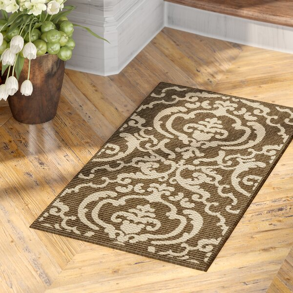 Short Chocolate/Natural Outdoor Rug by Winston Porter
