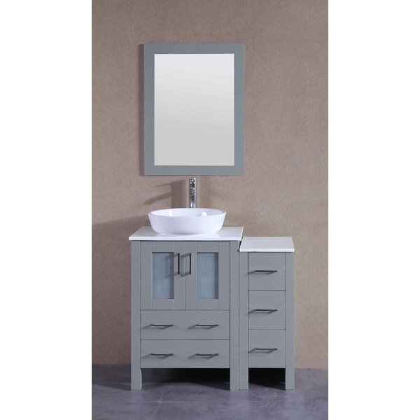 Vivaan 36 Single Bathroom Vanity Set with Mirror by BosconiVivaan 36 Single Bathroom Vanity Set with Mirror by Bosconi
