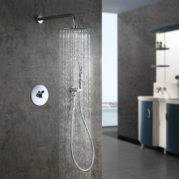 2-Way Function Thermostatic Complete Shower System With Rough-in-Valve By Symple Stuff