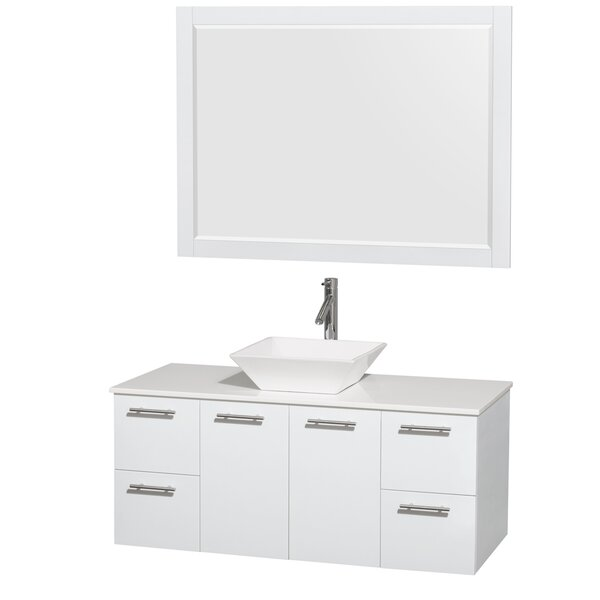 Amare 48 Single White Bathroom Vanity Set with Mirror by Wyndham Collection