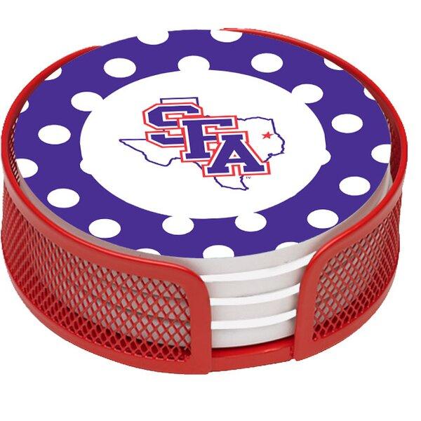 5 Piece Stephen F Austin University Dots Collegiate Coaster Gift Set by Thirstystone