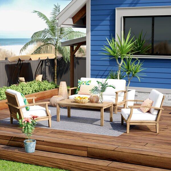 Elaina 4 Piece Teak Sofa Seating Group with Cushions by Beachcrest Home