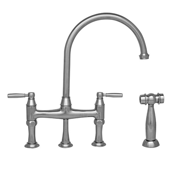 Queenhaus Bridge Faucet with Side Spray by Whitehaus Collection
