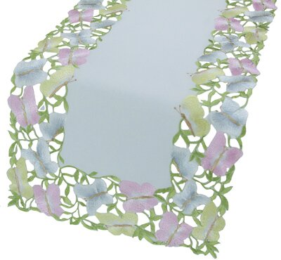 Butterfly Minuet Embroidered Cutwork Table Runner by Xia Home Fashions