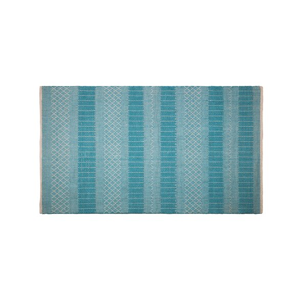 Chapdelaine Hand-Woven Cotton Sky Blue Rug by Highland Dunes