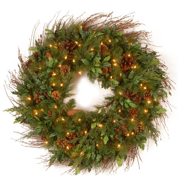 36 Lighted Juniper Mix Pine Wreath by National Tree Co.