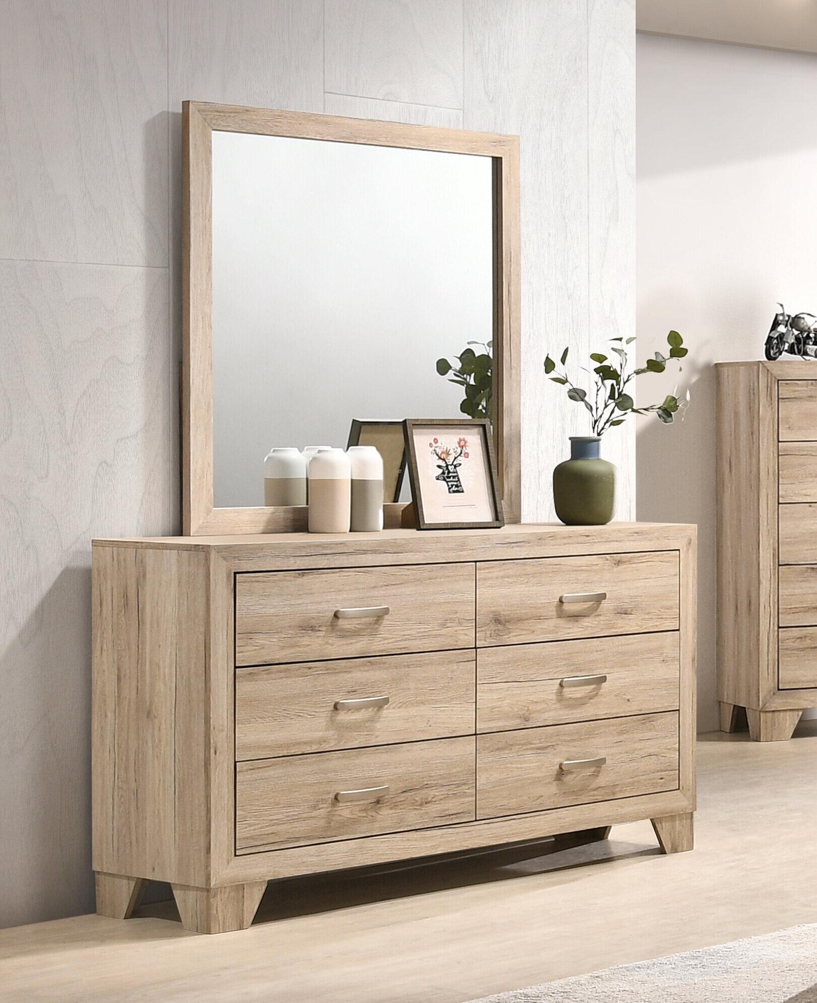 Millwood Pines Jaziel 6 Drawer Double Dresser With Mirror Wayfair