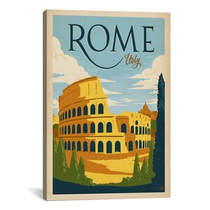 'Rome, Italy' by Anderson Design Vintage Advertisement on Canvas by iCanvas