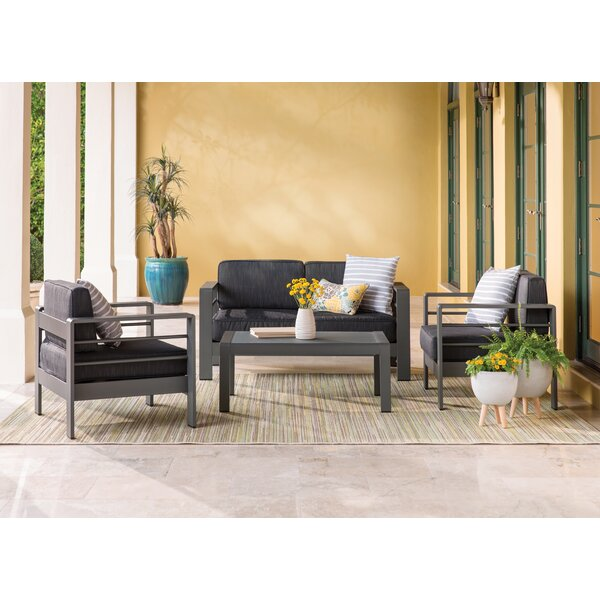Durbin 4 Piece Sunbrella Sofa Set with Cushions by Wade Logan