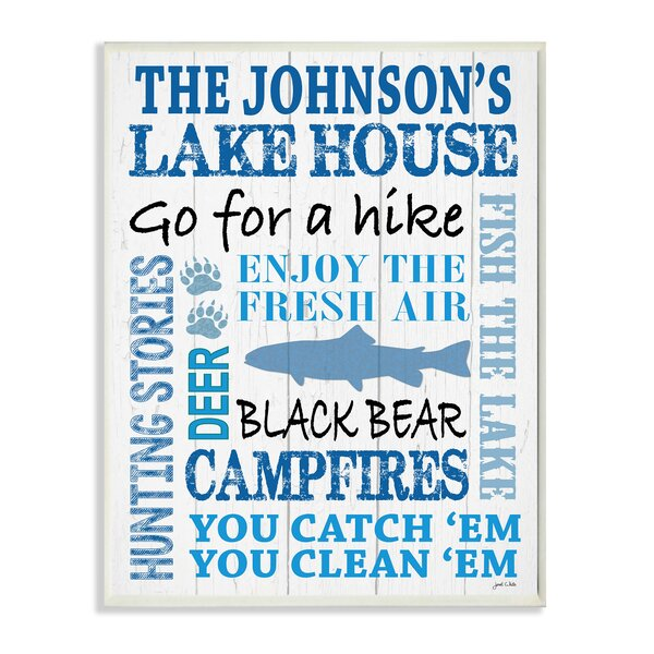 Personalized Lake House with Fish Textual Art Plaque by Stupell Industries