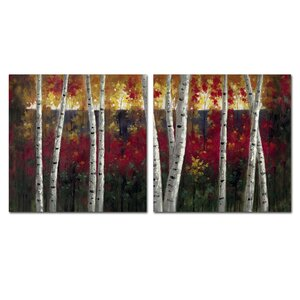 'Autumn Aspens' Wall Art Set by Trademark Global