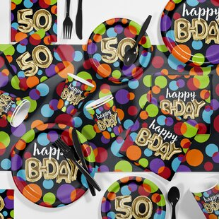Balloon 50th Birthday Party Paper Plastic Supplies Kit Set Of 81